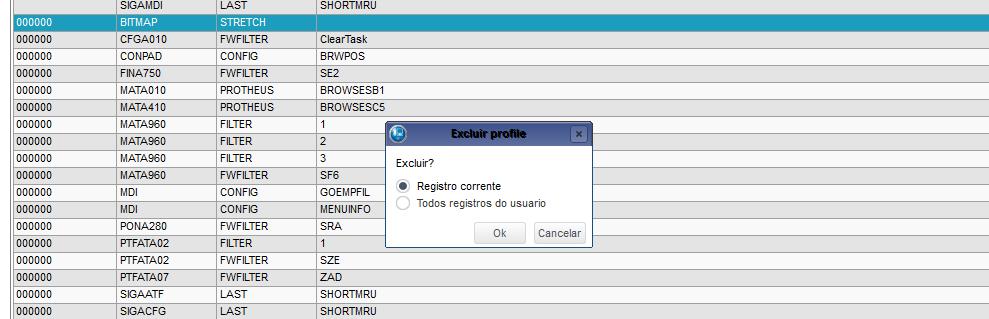 Excluindo registro