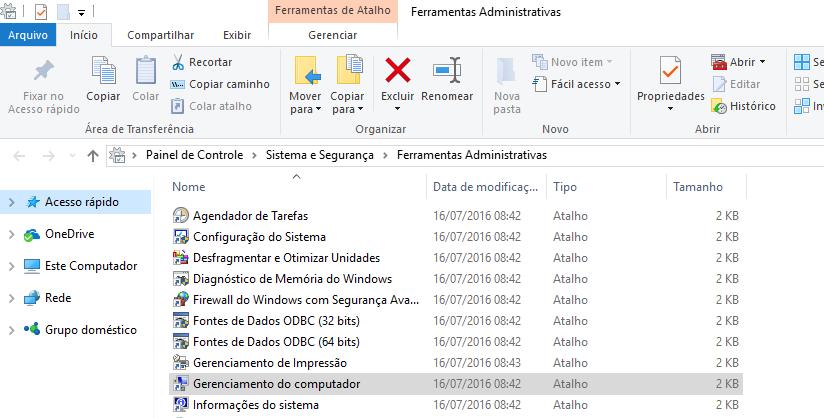 Abra o Gerenciamento do Computador