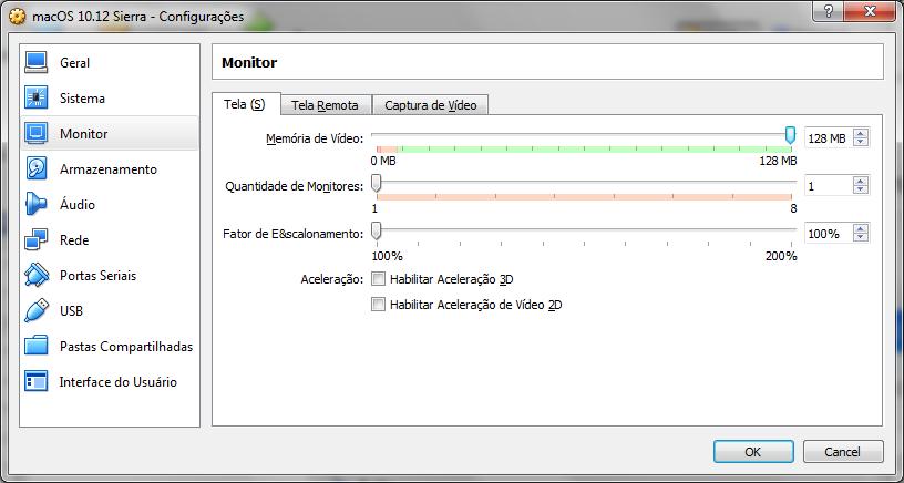 Configurando a memória do vídeo