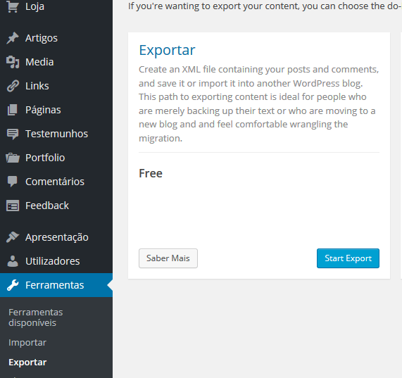 Exportando os dados do site antigo