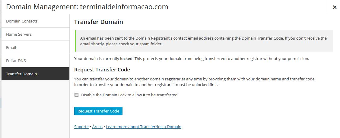 Solicitando um código de transferência