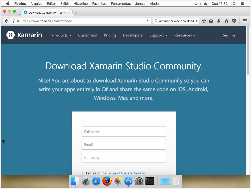Fazendo o download do Xamarin