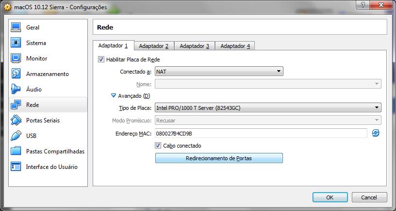 Indo nas configurações da VM