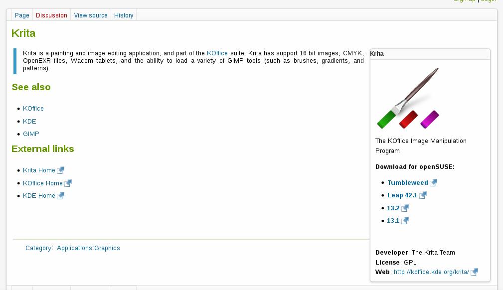 Página detalhando o software Krita