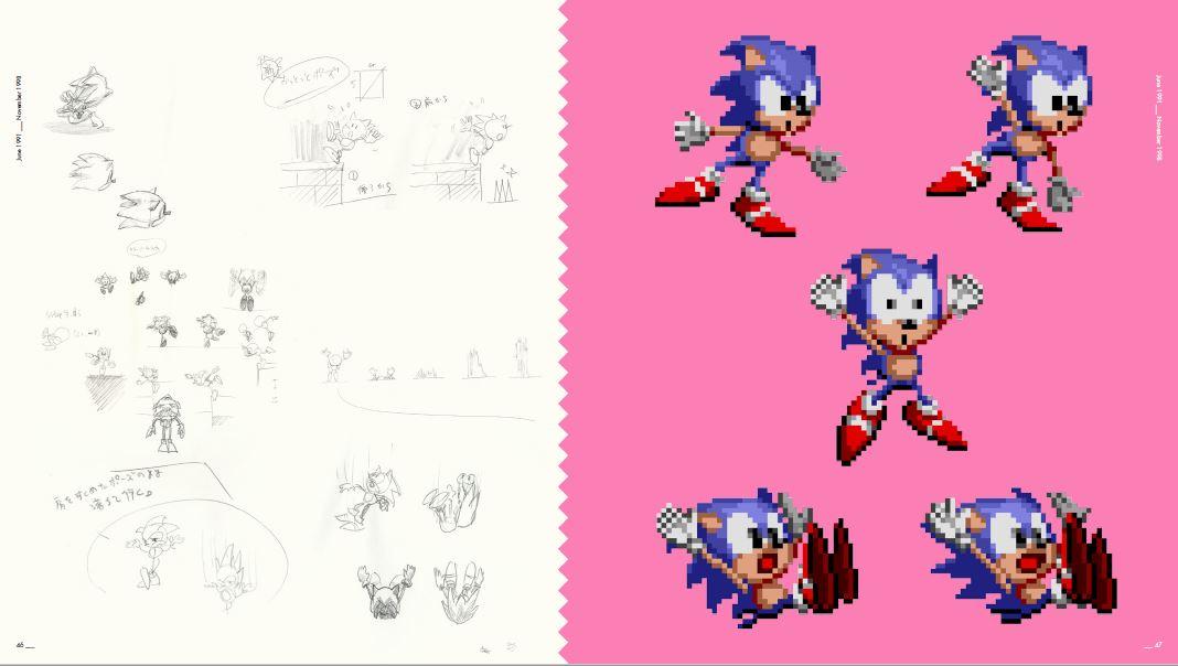 Primeiro desenhavam o personagem (esquerda) e depois em pixels (direita)