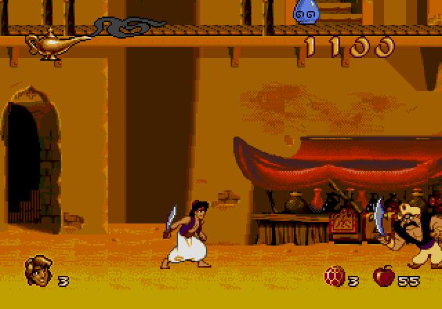 Aladdin para Mega Drive, bem diferente da versão do Super Nintendo