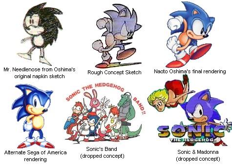 Esboços conceituais do Sonic
