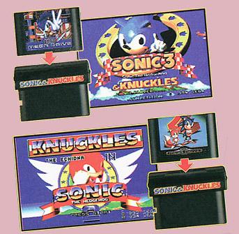Sonic & Knuckles com a tecnologia Lock On para colocar cartuchos em cima