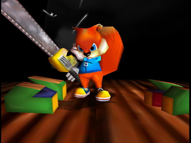 Conker cortando o logo do Nintendo 64