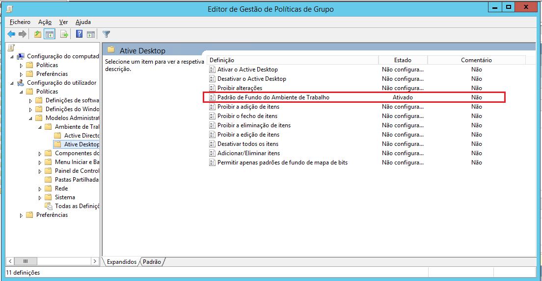 Mudando configuração do Desktop Ativo