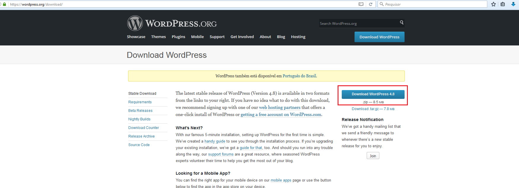 Fazendo o download do WordPress