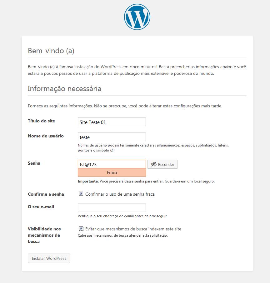 Definindo as informações do WordPress