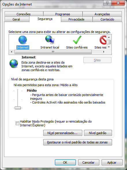 Configurações do Internet Explorer