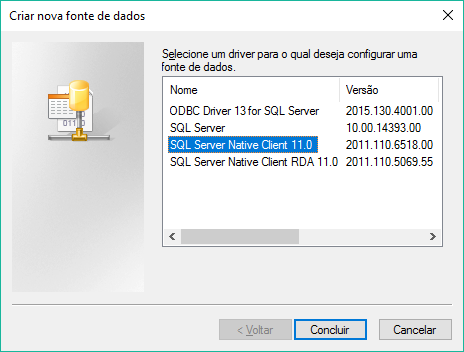 Escolhendo SQL Server Native Client