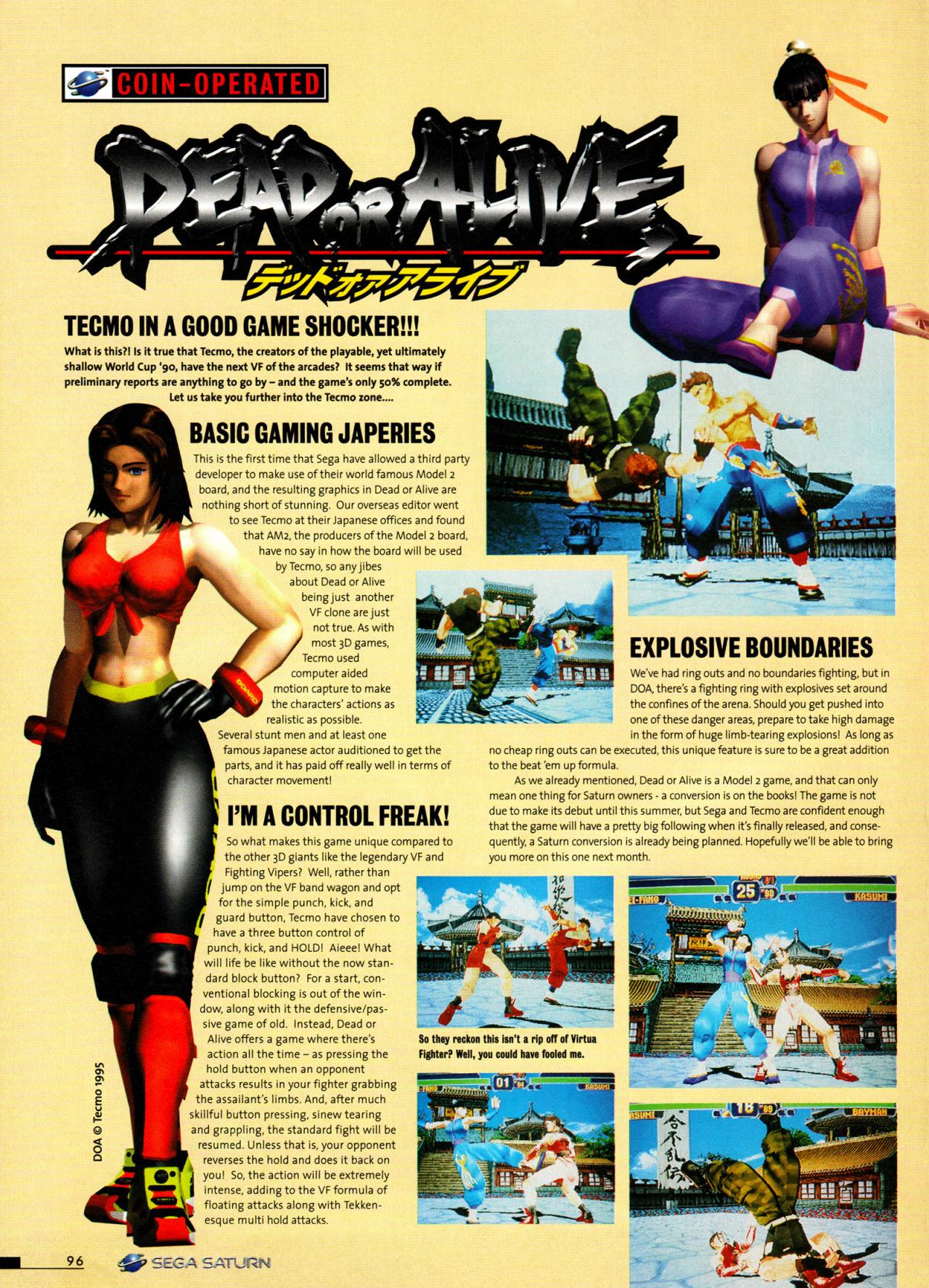 Dead Or Alive para Sega Saturn em uma revista