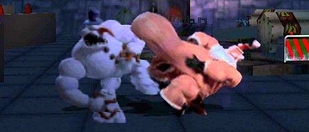 Sumo Santa dando seu golpe com a barriga