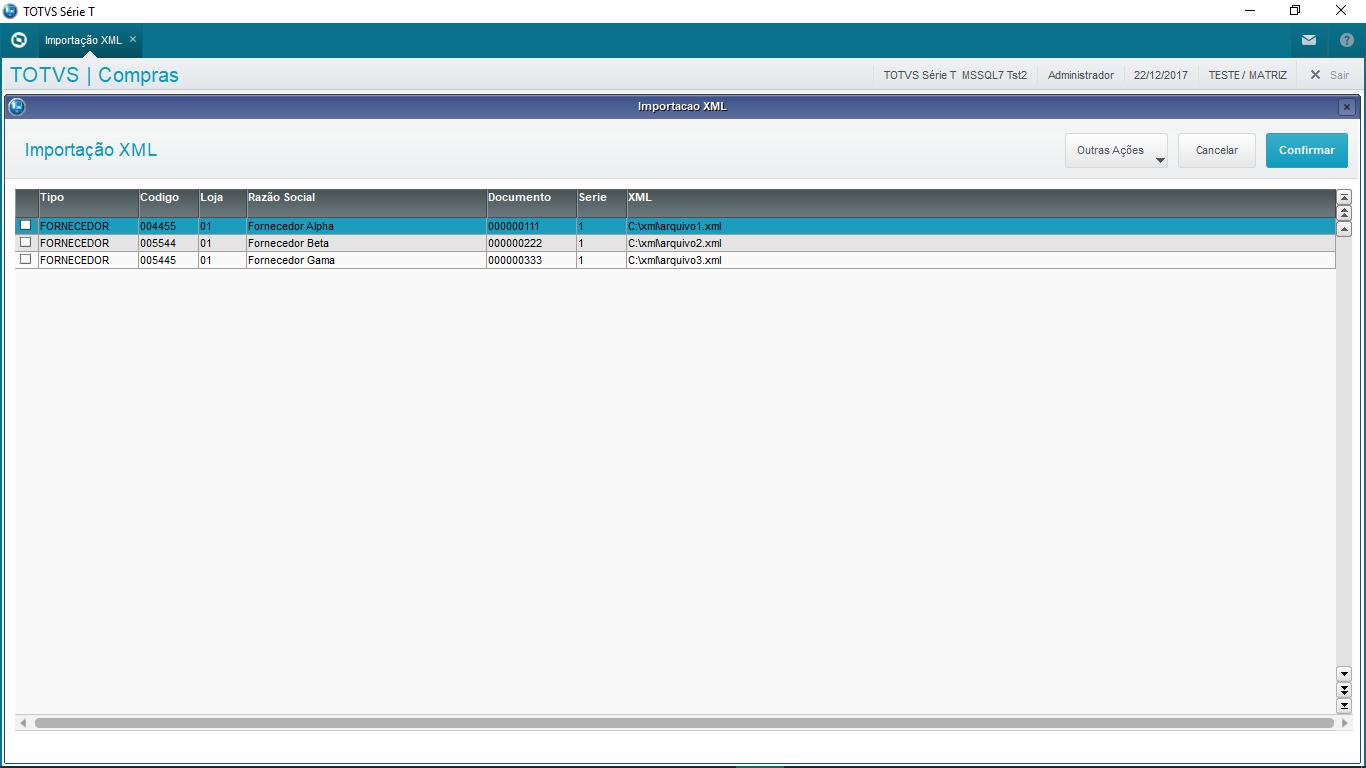 Tela para selecionar os arquivos xml