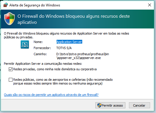 Permitindo o acesso no Firewall do Windows