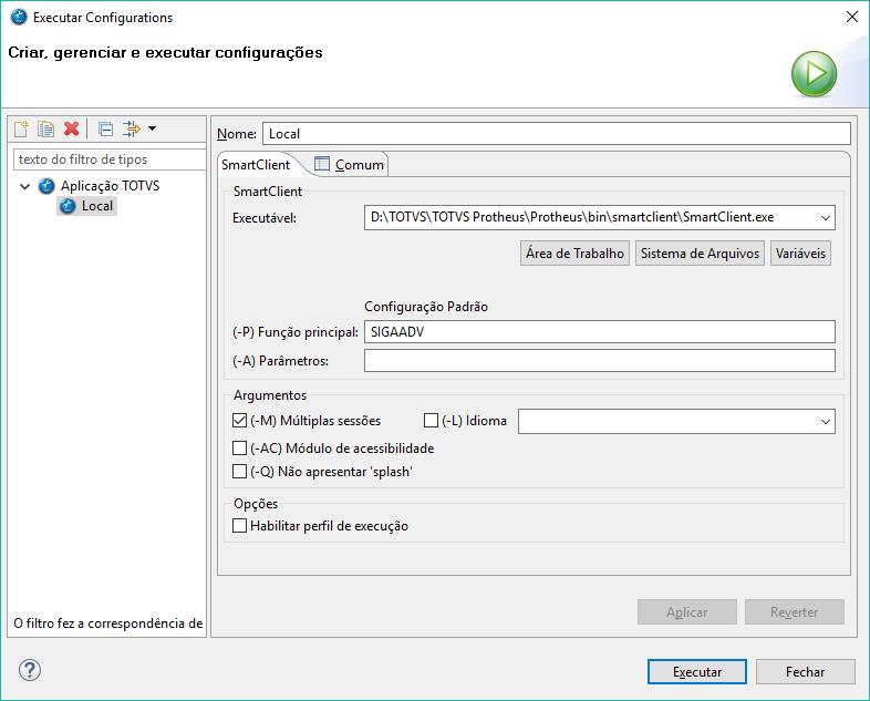 Configurando o diretório e parâmetros da execução