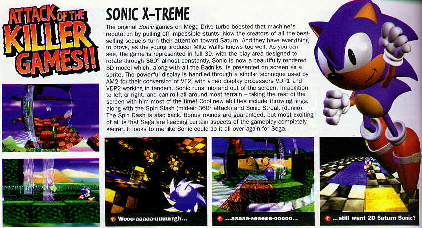 Revista com imagens do preview do Sonic XTreme