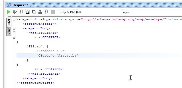 Colocando filtro via JSON