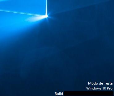 Texto Modo de Teste do Windows 10