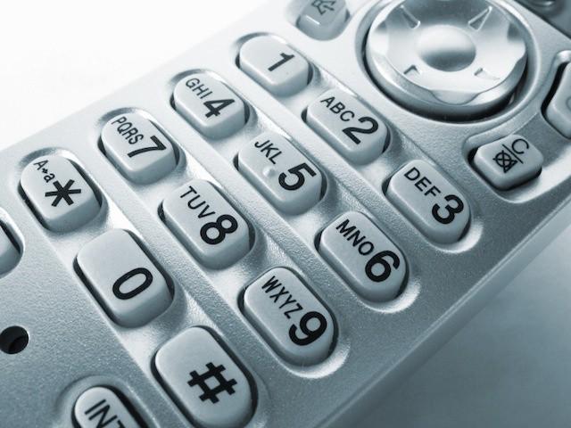 Teclas do telefone, começando em cima
