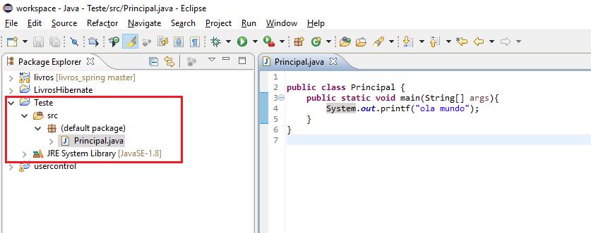 Projeto criado no Eclipse