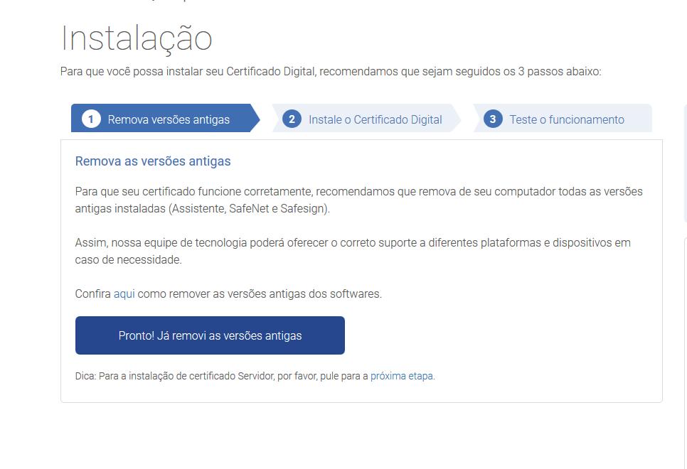 Abrindo a instalação do certificado digital