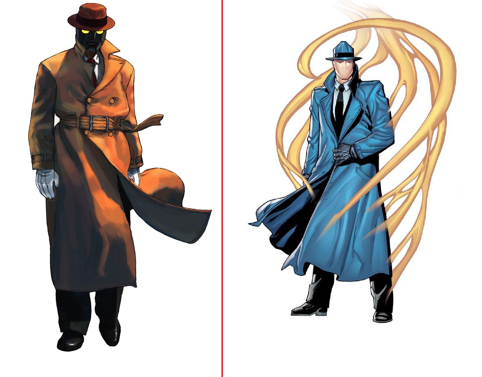 Q do Street Fighter (à esquerda) e Questão da DC (à direita)