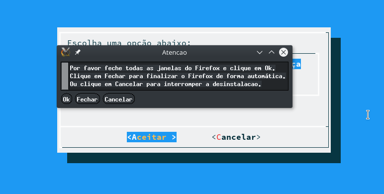 Mensagem para fechar o navegador