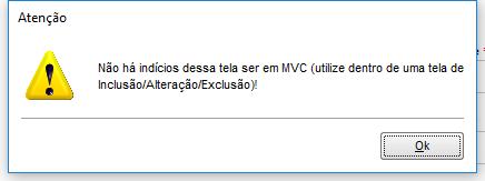 Mensagem que a rotina não é em MVC