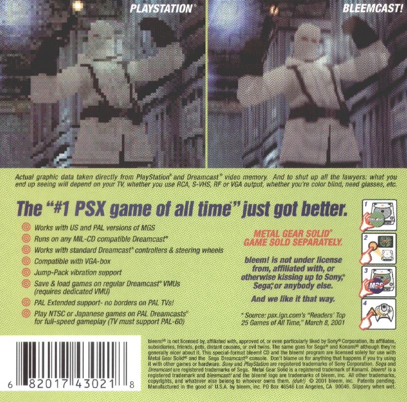 Exemplo de capa traseira do Bleem!, que mostrava como utilizar, e comparava a versão do Playstation 1 e outra no Dreamcast