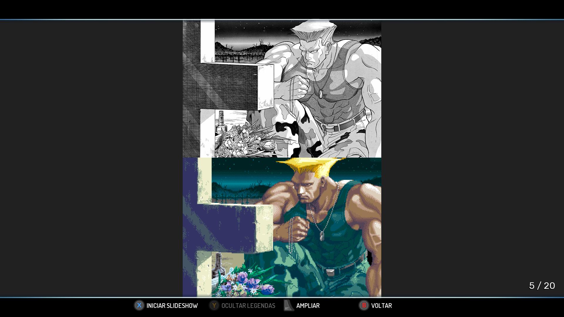 Arte desenhada do fim do Guile e passada para o jogo
